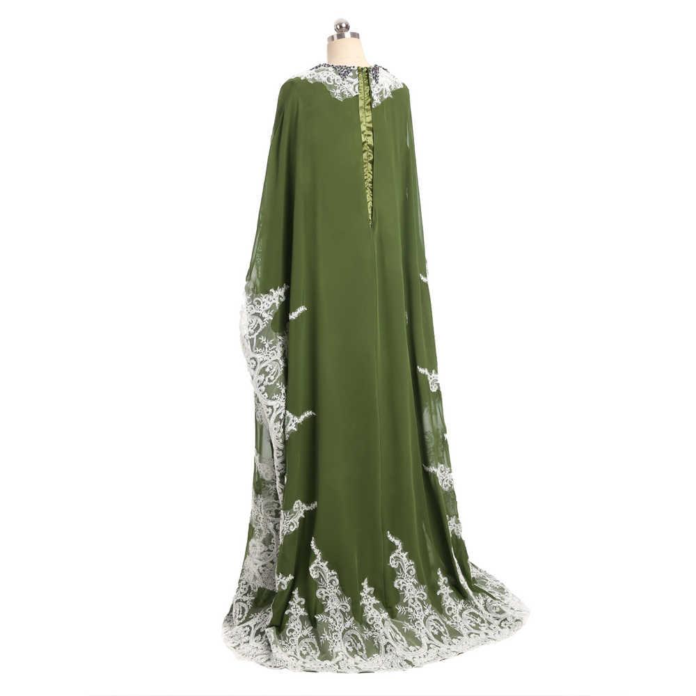ירוק 2019 מוסלמי ערב שמלות אונליין ארוך שרוולים שיפון תחרה חיג 'אב האסלאמי דובאי העבאיה קפטן ארוך ערב שמלת נשף שמלה