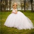 Muchachas de flor Vestido de Novia Trailing Tulle Tutu Vestido Vestido de Fiesta Blanco Cintas Arco Traje de Princesa Kids Party Vestidos de dama de Honor