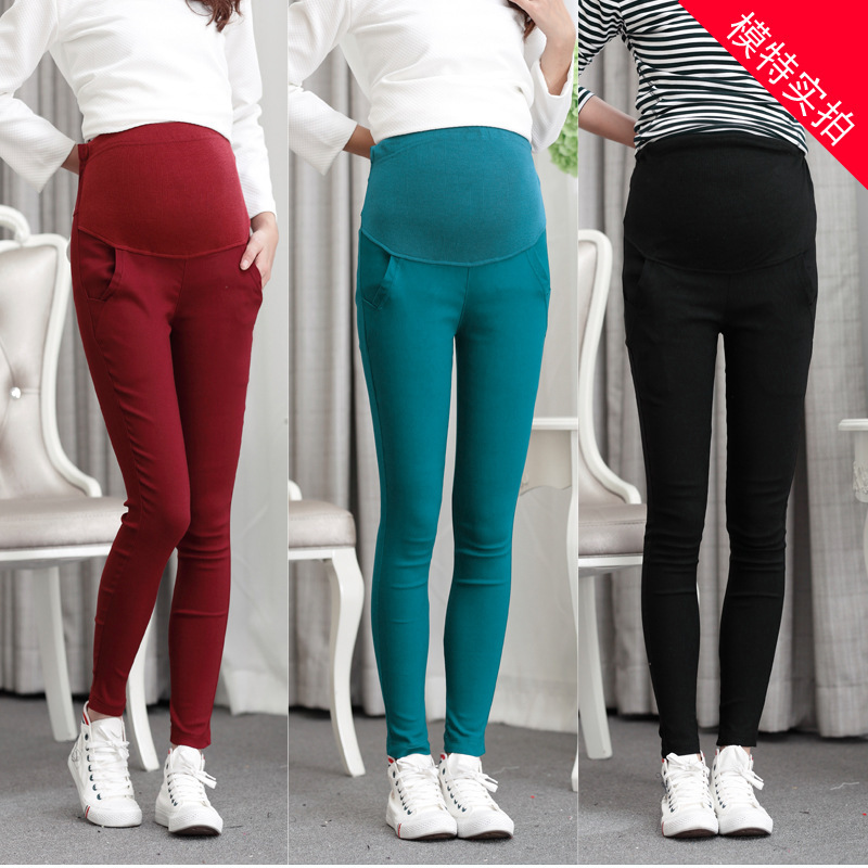 Fashion pregnant women autumn and winter Korean pants trousers belly Slim was thin pencil feet pants ishine low waist hollow out jeans women pants fashion cool hole trousers denim ripped slim skinny thin pencil pants blue black