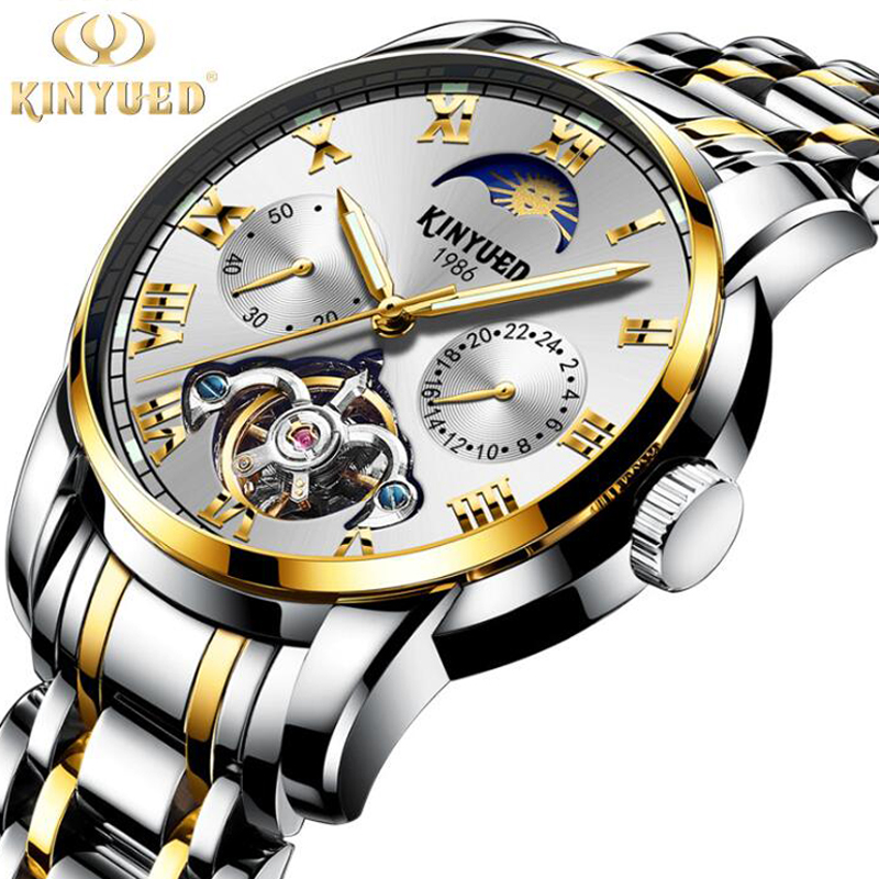 relogio masculino KINYUED Brand Luxury Tourbillon Skeleton Watch Men Sport Full Steel Waterproof Automatic Mechanical Wristwatch недорго, оригинальная цена