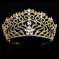 Glittering Gold Crystal Rhinestone Bridal Hairband Royal Princess Wedding Bridal Pageant Prom Tiara Crowns Girl Women Headpieces