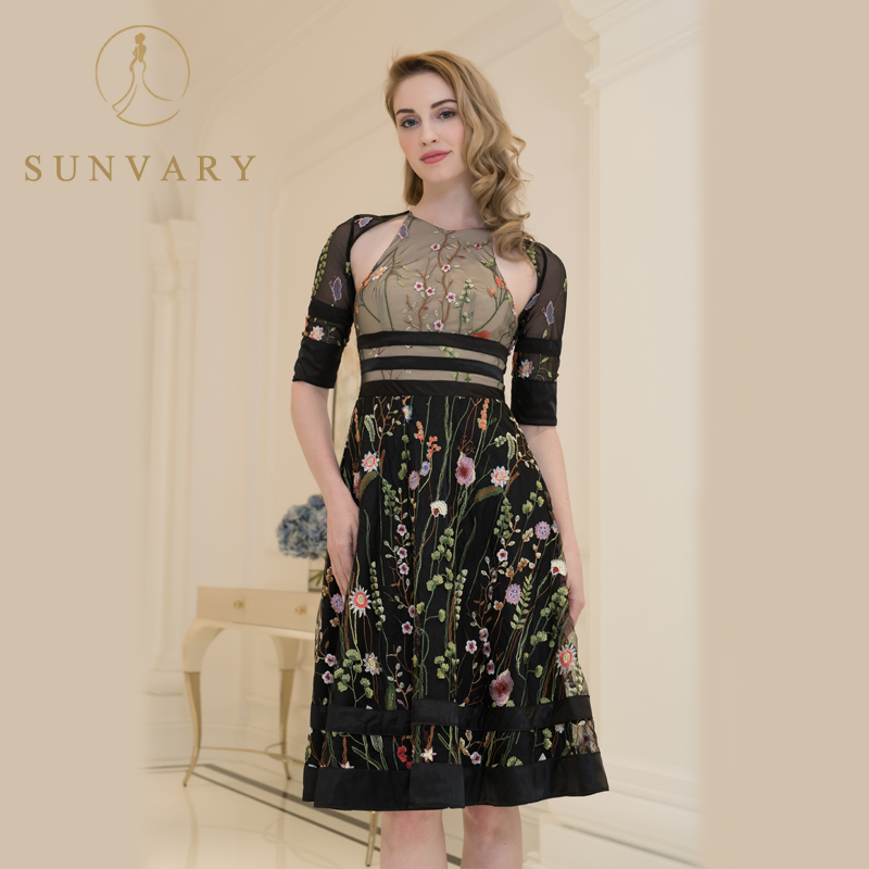 Sunvary Customized Vintage Embroidery Celebrity Dress Short Sleeve Corset A Line Party Dress Tea-length Flower Red Carpet Dress