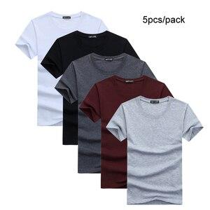 Image 1 - 5ピース/ロットシンプルなスタイルの男性のtシャツ半袖固体綿スパンデックスレギュラーフィットカジュアル夏トップスtシャツの男性服