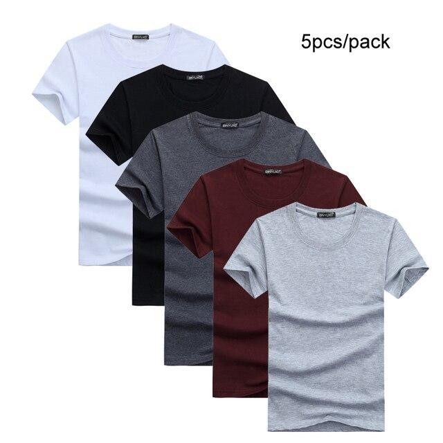 5ピース/ロットシンプルなスタイルの男性のtシャツ半袖固体綿スパンデックスレギュラーフィットカジュアル夏トップスtシャツの男性服