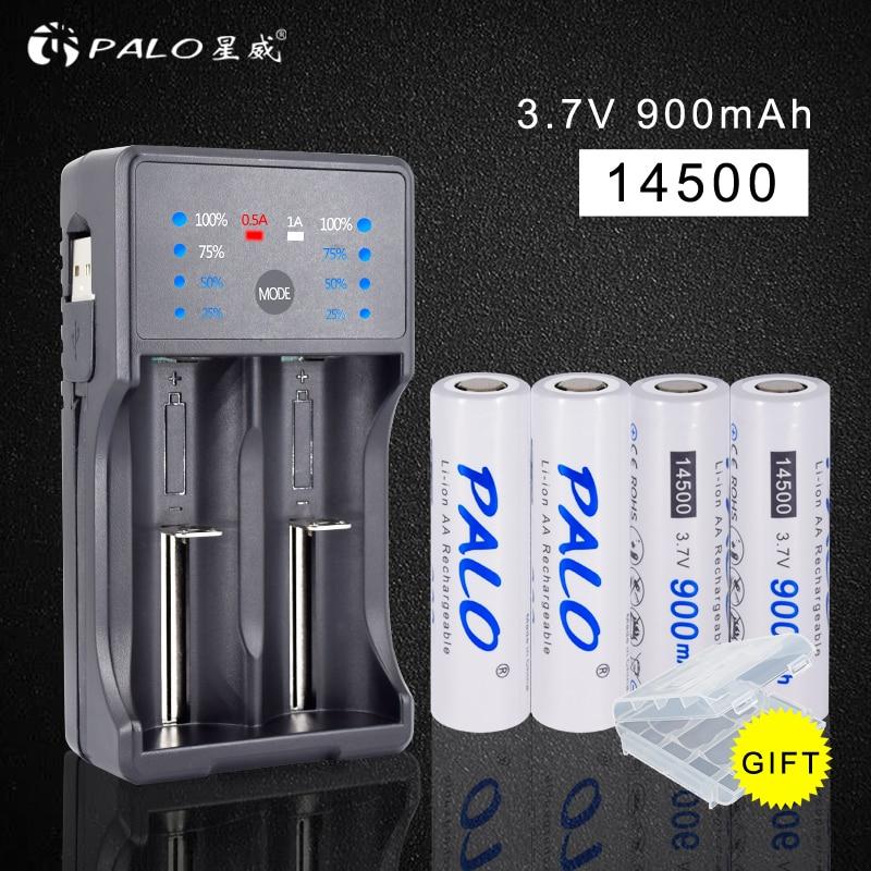 Batteria PALO 3.7 V 14500 Li-ion de lítio Recarregável Bateria 2a 900 mAh com Carregador Inteligente para AA AAA 18650 14500 16350 etc.