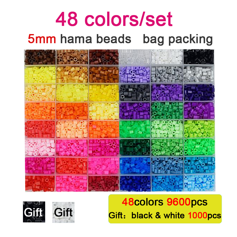 DOLLRYGA  5mm Hama Beads Puzzle 48 Colors 10600pcs/set Perler Beads 3D Puzzle Education Toy For Childre Fuse Bead Jigsaw Pegboar