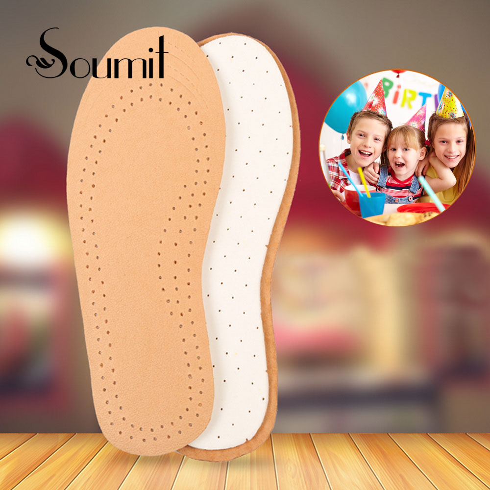 Soumit Sheepskin Leather Breathable Insole Shock Absorption Moisture Wicking Insoles Shoes Cushion Footbed for Children Kids soumit new style breathable lightweight leather insole genuine soft cowhide sweat absorbent insoles for men and women shoes pads