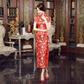 Free Shipping Ladies Long Cheongsam Qipao Traditional Chinese Dress  Cheap Chi Pao for sale chinese red floral engagement dress