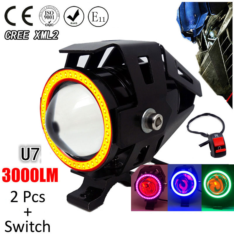 1 Pair 125W Motorcycle Headlight Motorbike Spotlight 3000LM Motos U7 LED Driving Spot Head Light Auxiliary Lamp With Switch 2016