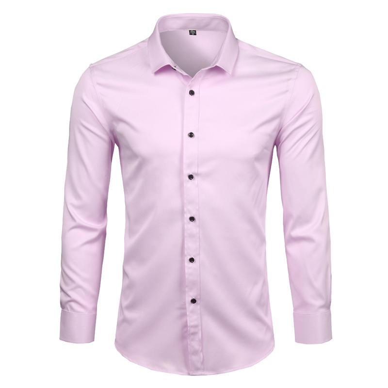 Image 2 - Black Mens Bamboo Fiber Shirts 2018 Brand New Casual Slim Fit Long Sleeve Mens Dress Shirts Non Iron Solid Chemise Homme 4XL-in Casual Shirts from Men's Clothing