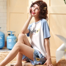 Sleepwear Lovely Home Suits Pajama Short Sleeve Pajamas Set 2019 Women Nightgown Comfortable Girls Spring Summer Four Colors