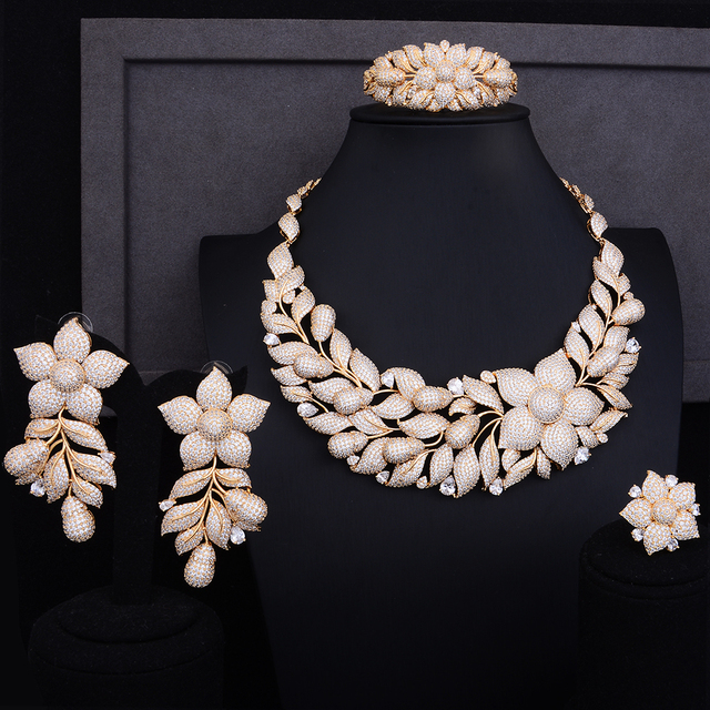 Luxury Rose Flower Cluster Floral 2 Tone Wedding Jewelry Set