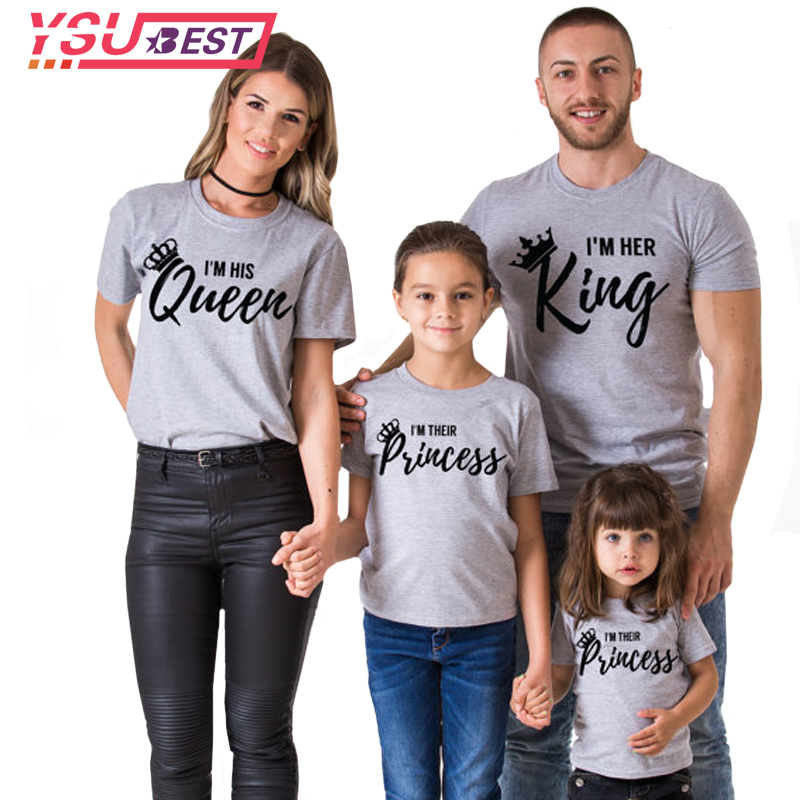 2018 Summer Style Women T-shirt Queen King Letter Printed Casual Female Family Couple Lover Tee O-Neck Gray Black Tops Shirts plain gray v neck t shirts