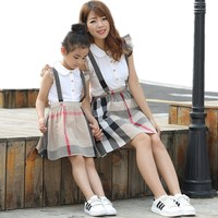 New Mother Daughter Dresses Family Clothing Fashion Long Sleeve Plaid Family Look Matching Clothes Cotton Mom