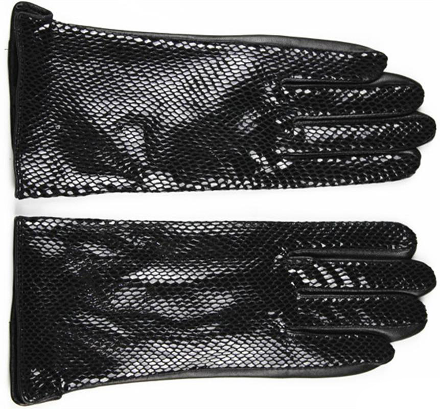 Image 2 - Female style snakeskin pattern leather gloves points finger sheepskin gloves warm cashmere lining armband sets free shipping-in Women's Gloves from Apparel Accessories