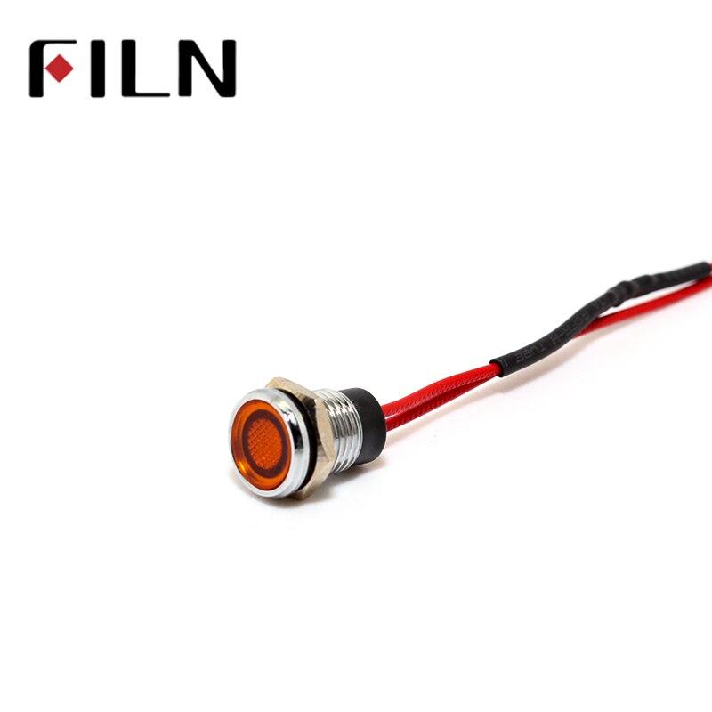FILN 8mm FL1M-8FW-3 Red Yellow Blue Green White 6v 12v 110v 24v 220v Led Metal Pilot Lamp With 20cm Cable