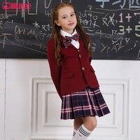 Otoño y Primavera Niñas Uniforme Escolar Establece Estudiantes de La Escuela Secundaria Chicos Chaquetas y Pantalones Trajes