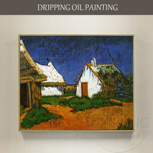 Gifted Artist Reproduce Van Gogh 1888s Art Oil Painting Hand-painted Three White Cottages in Saintes Maries