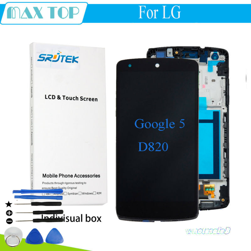 100% Tested For LG Google Nexus 5 D820 D821 LCD Display Touch Screen Digitizer Assembly With Frame Replacement Parts форадил комби капсулы 12мкг 200мкг 60 60шт