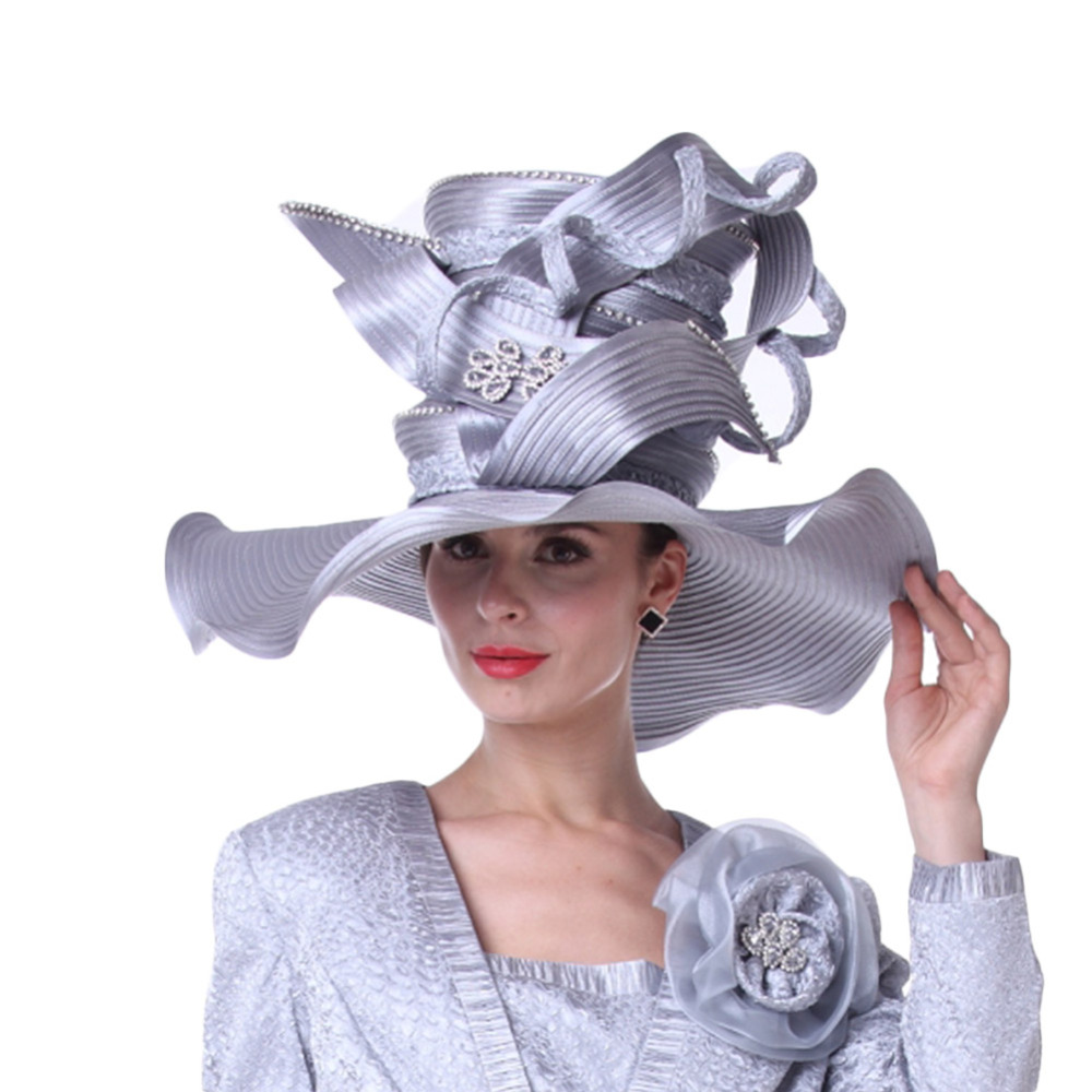Vintage Women Derby Church Hats Wedding Mother Of Bride Hats Silver Color Fashion Hat Match Perfect