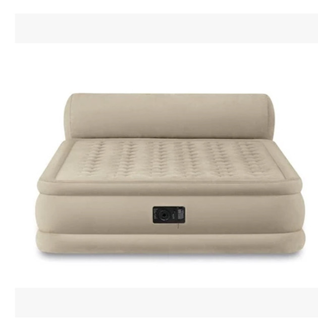 Double layer line pull type inflatable mattress thickened and increased air cushion bed belt backrest Built in electric pump