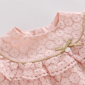 Image 3 - Vestidos infantis para meninas, vestidos para crianças para meninas de outono, algodão, laço, linha a, roupas para bebês, batizado, roupas para meninas recém nascidas, rosa, branco