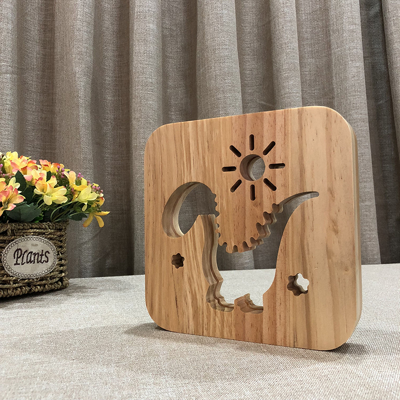 Creative Dinosaur 3D Wooden Lamp Warm White LED USB Night Light Home Decoration Children Birthday Holiday Christmas Gift W3D-12 icoco usb rechargeable led magnetic foldable wooden book lamp night light desk lamp for christmas gift home decor s m l size