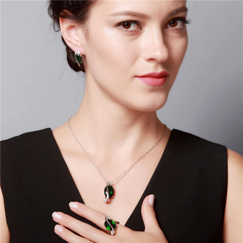 Almei 35% Off Mode Biru Kristal Jewerly Set untuk Wanita Warna Silver - Perhiasan fashion - Foto 2
