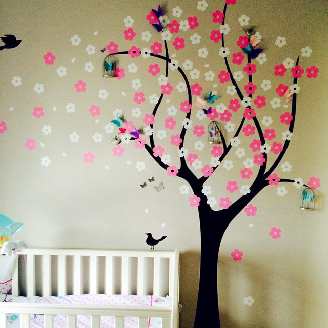 Cherry Blossom Tree Vinyl Decal Large Nursery Stickers Children Wall Decals With Flying Birds