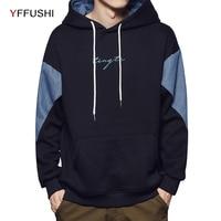 YFFUSHI 2018 Patchwork Men Sweatshirts Fashion Hoodies Long Sleeve Pocket Hooded Pullover Loose Streetwear Plus Size