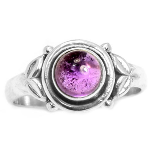 Hand Made Genuine Amethyst Ring 100% 925 Sterling Silver, 2.9g, Size:7, AR0338