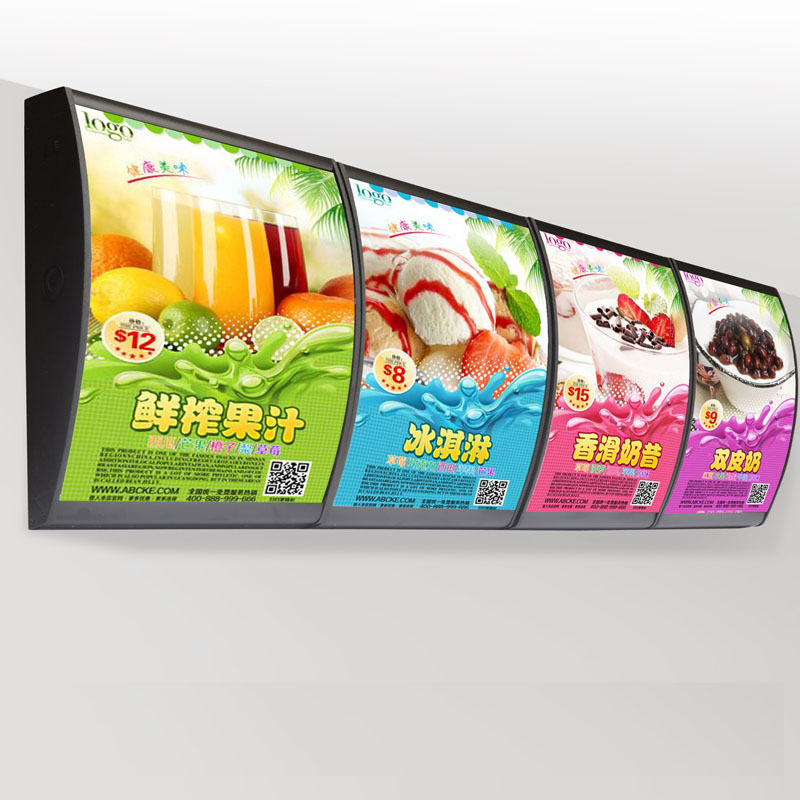 (4 Graphics/column) Wall Mounted Led Menu Curved Light Boxes & Illuminated Menu Display Signs For Restaurant Take Away