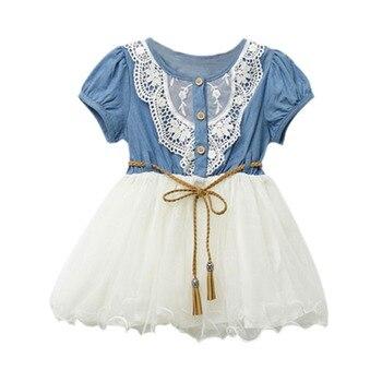 eff6ba0144b999a Одежда для малышей для девочек, короткий рукав, кружевное платье принцессы,  платье-пачка для девочек вечерние платья для маленьких девочек .