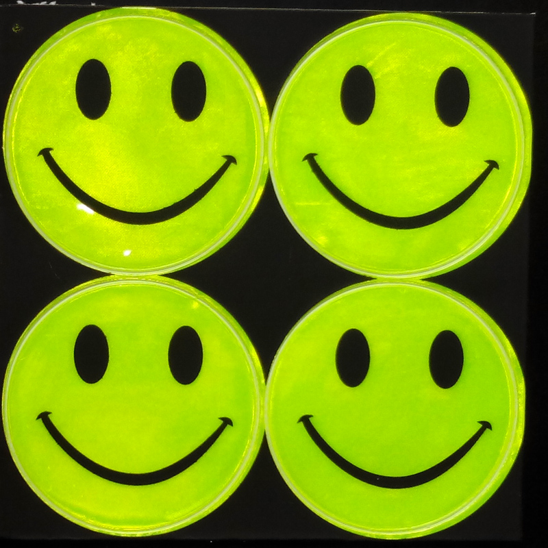 Wholesale 50 page/lot,9 models 14x14CM Reflective safety sticker smile face for motorcycle bicycle scooter for visibile safety