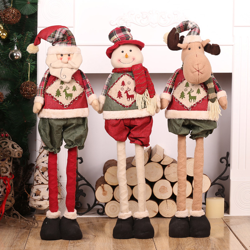 Christmas Telescopic Snowman Doll Ornaments Christmas Tree Decoration For Home Baby Shower Natale Craft Supplies