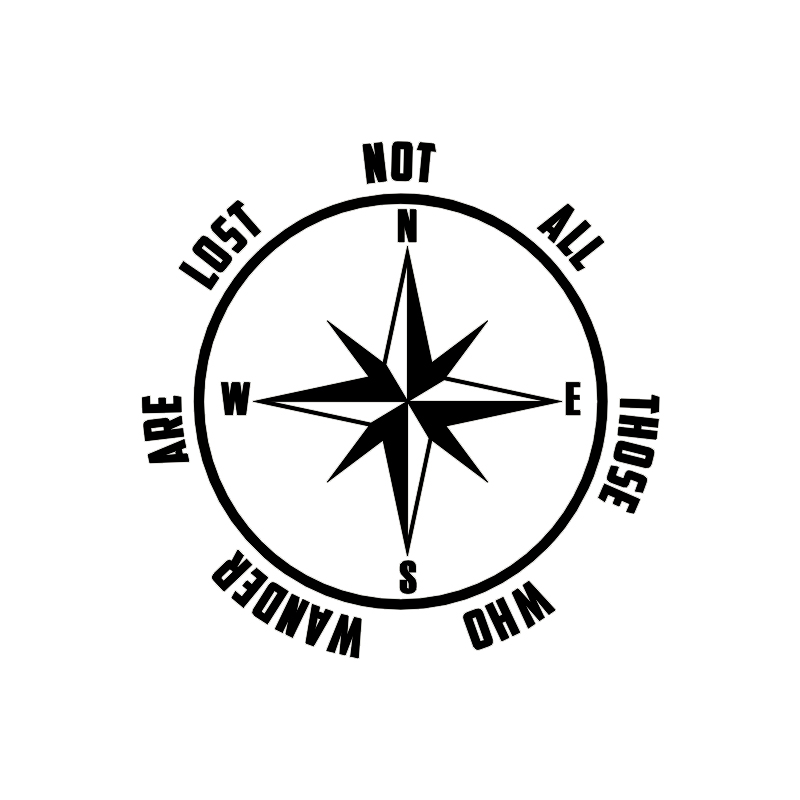 COMPASS Not All Those Who Wander Are Lost Vinyl Decal Sticker Car Window Wall