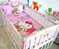 ¡ Promoción! 5 unids gatito bedding sets para la muchacha del muchacho del bebé cuna parachoques cuna bumper crib set juego de cama, incluyen (4 bumpers + hoja)