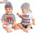 Keelorn Baby boys Set  2017 New Cute Letter Baby Boy Suit 3Pieces Hat T-Shirt Pants Summer Outfit For Toddler Vestidos