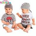 Keelorn Bebé muchachos Fijados 2017 Nueva Letra Linda del Bebé Traje de 3 Piezas Camiseta Del Sombrero Traje de Pantalón de Verano Para Niño Vestidos