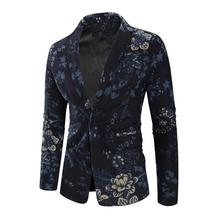 Floral Mens Blazers and Suit Jackets Cotton Flower Blazer clothing Slim fit Fashion Blue