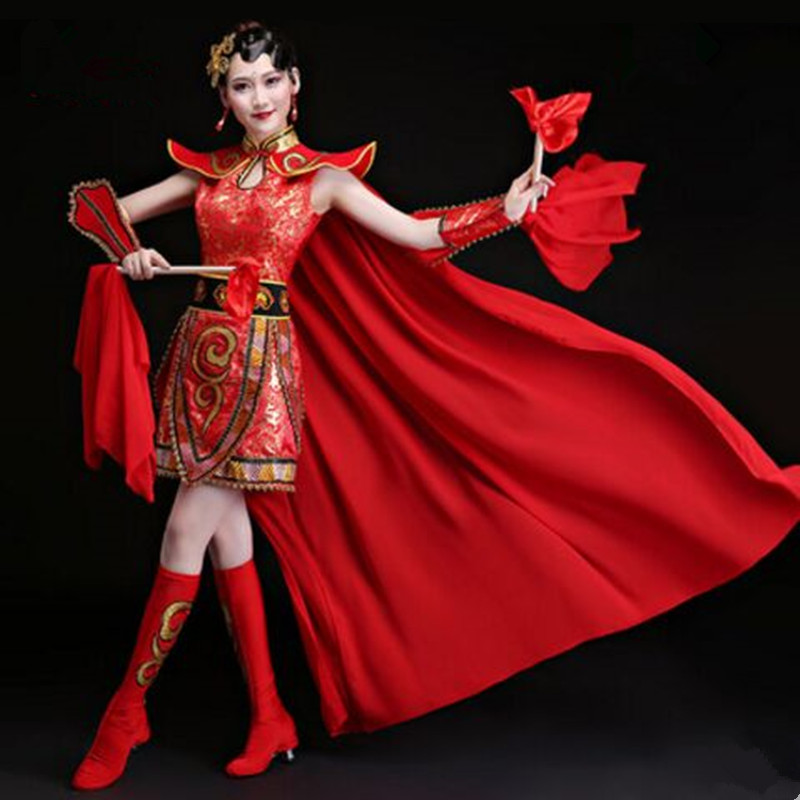 red dum dance suit for women chinese folk dance costume red festival clothing hua mulan cosplay warrior cosplay for women