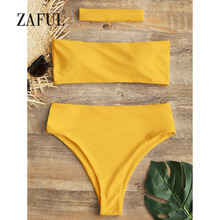 High Cut Padded Strapless Solid High Waist Swimming Suit