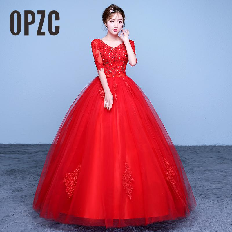 Hot Sale 2017 New Ball Gown Lace Tulle Red Half Wedding Dress Sequined Chinese Pattern Style