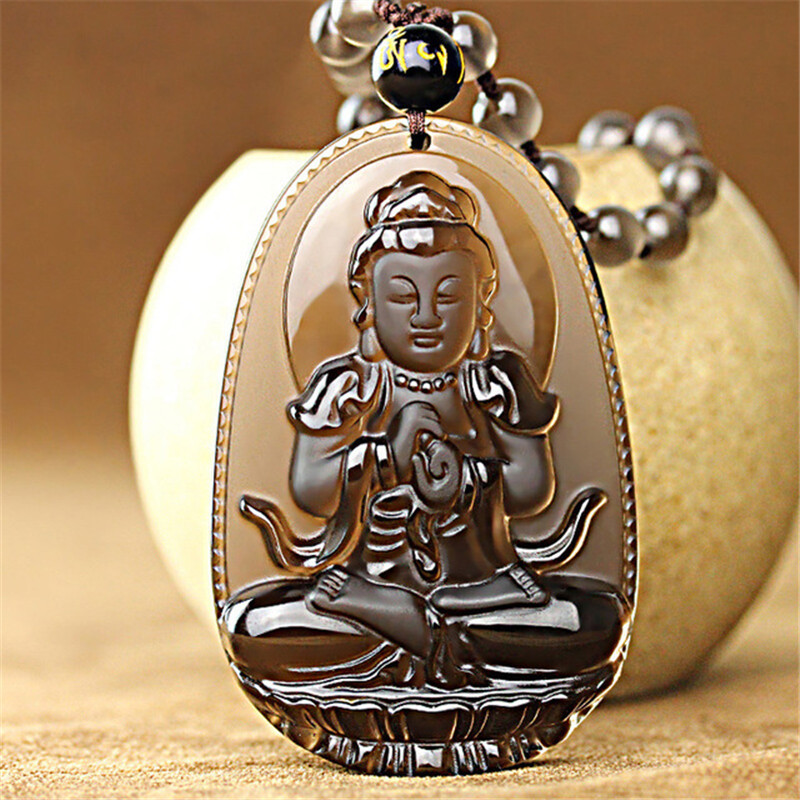 Natural Ice Obsidian Carved Buddha Lucky Amulet Smoky Quartz Pendant Necklace Smoke Crystal Women Men Jewelry Healing Reiki GiftNatural Ice Obsidian Carved Buddha Lucky Amulet Smoky Quartz Pendant Necklace Smoke Crystal Women Men Jewelry Healing Reiki Gift