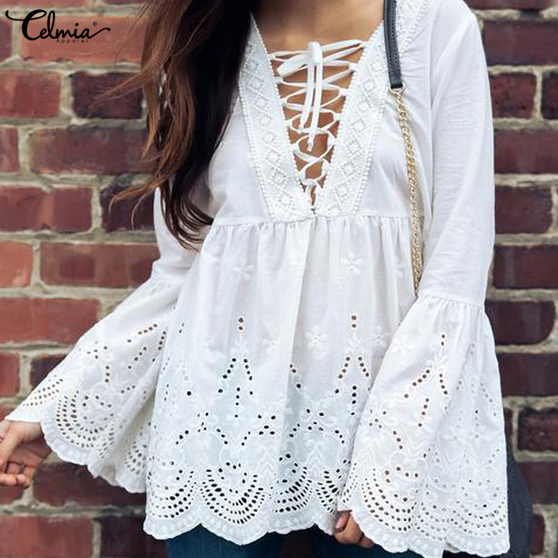 Celmia Women Blouse Elegant Sexy V-neck Lace Up Tunic Top Autumn Flare Long Sleeve Shirt ...