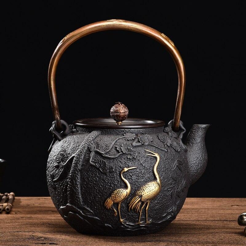 1300 мл, 1.3л, новый японский чайник, чугунный чайный горшок, настоящий чугунный чайник, чайный горшок, чайник