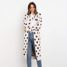 Women Casual Fashion Kimono Cardigan Long Fashion Print Polka Dot Cardigan Knitted Fabric Kimono Shirt Loose Black Blouse Shirt bear print buttoned knitted cardigan