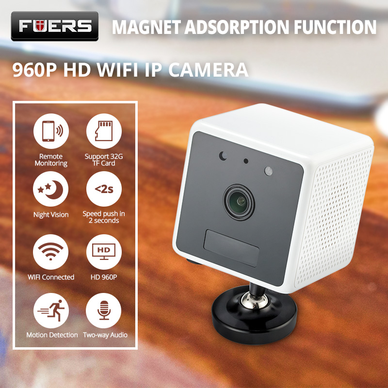 FUERS 960P HD Built in Battery Surveillance WiFi IP Camera PIR Motion Night Vision Intercom Wireless