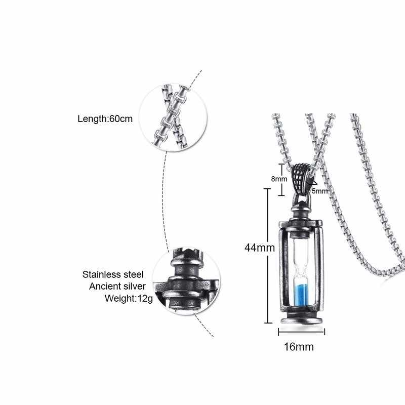 Punk Vantage Necklaces Mens Sand Timer Custom Hour Glass Pendant Memory Special Memory Anniversary Gifts