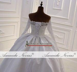 Image 5 - Mới thiết kế cô dâu váy làm cỏ dress satin với ren đầy đủ beading vạt áo